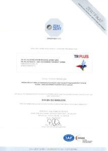 ISO Zertifikat von TR Plus